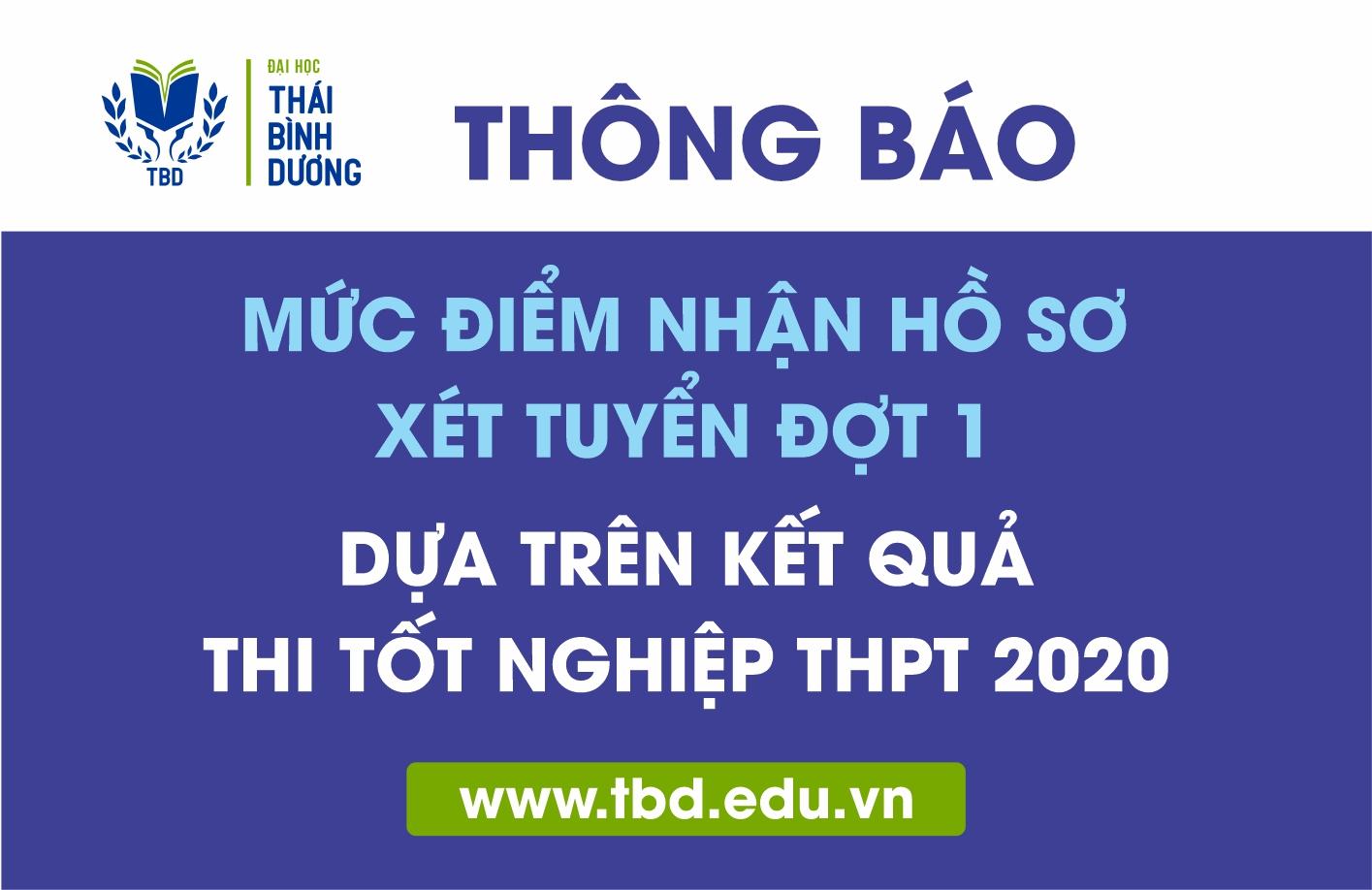 TBD thông báo mức điểm tối thiểu nhận hồ sơ xét tuyển đợt 1 dựa trên kết quả thi tốt nghiệp THPT 2020